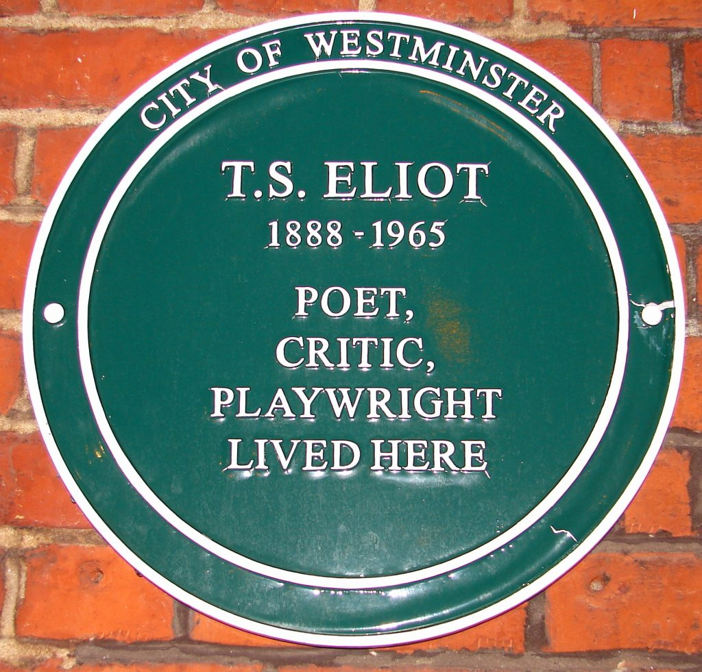 TS Eliot plaque on Crawford Mansions