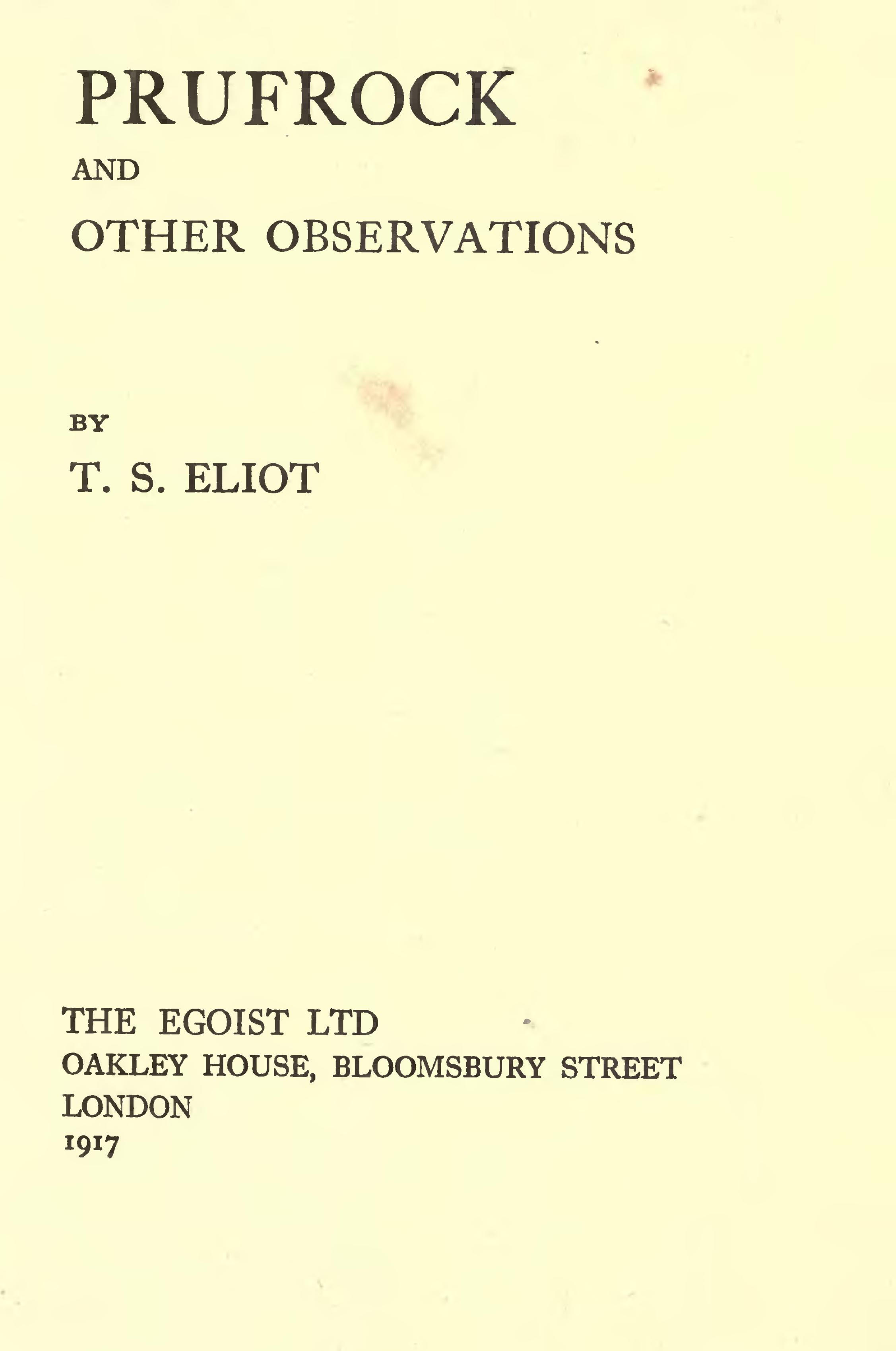 The Eliots of Crawford Mansions