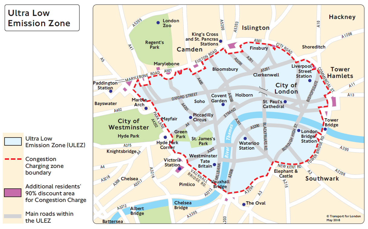 Marble Arch London Map.Ulez Map May 2018 Full Marble Arch London Marble Arch London