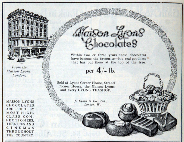Maison Lyons Chocolates advertisement