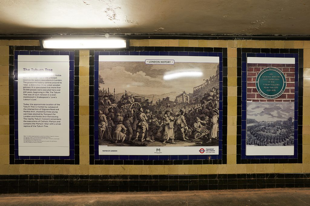 The Story of Marble Arch installation at Marble Arch station